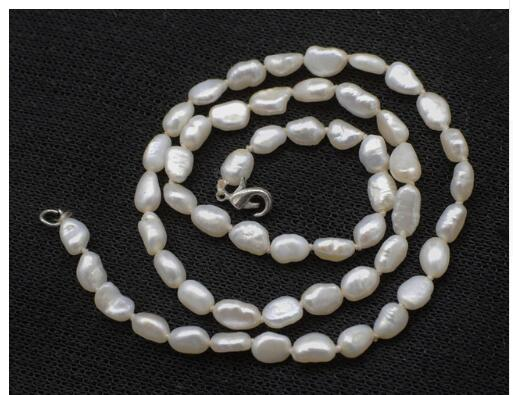 charming freshwater pearl white baroque 4-6mm chocker necklace 16inch FPPJ wholesale beads