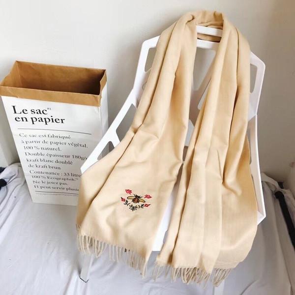 2019 HOT double face La broderie cachemire mode foulard femelle 100% prennent chaud épaisse écharpe grand châle 180 * 65CM