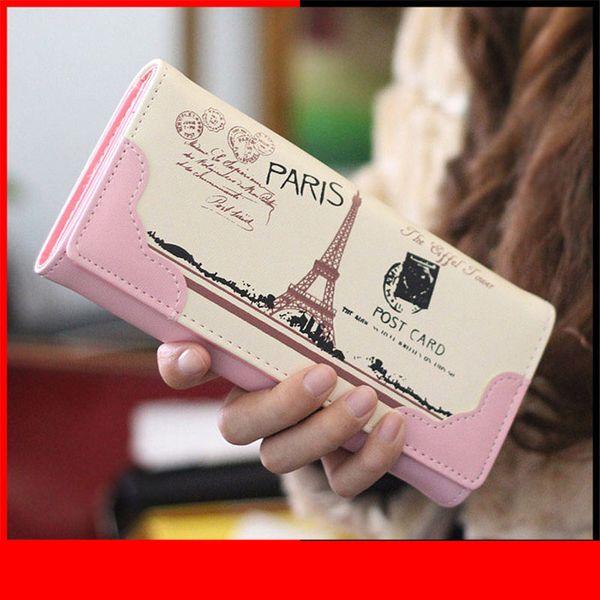 Designer-Women Wallets Handbags Brand Coin Purse Eiffel Tower Pattern Moneybags Lady Purses Girls' Long Clutch Wallet Cards Id Holder Bag