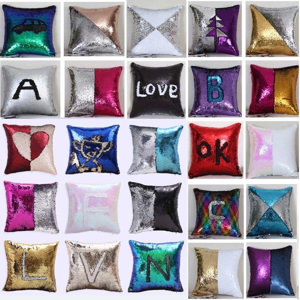 best selling Sequin Mermaid Cushion Cover Pillow Case Pillow Cover Home Decorative Bling Magic Reversible Glitter Sofa Car Pillowcase Xmas HH7-1526
