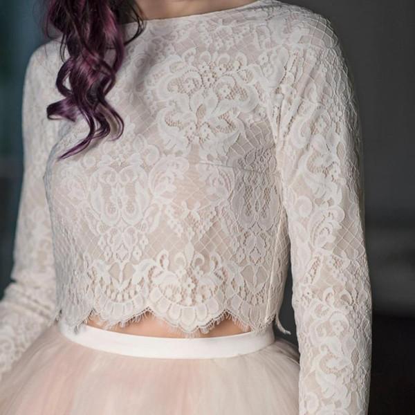 2019 Women's Ivory White New Bridal Wraps Lace Applique Jewel Neck Wedding Bolero Long Sleeves Custom Made Jacket