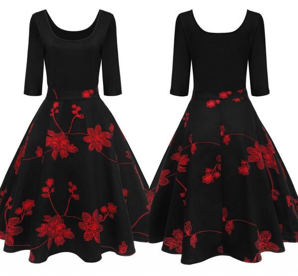 2018 New Red Floral Impresso Vestidos Vintage Meia Manga Partido Vestida Patchwork Verão Algodão Mulheres Vestem Vestidos fs2224 Fs2226 fs2227
