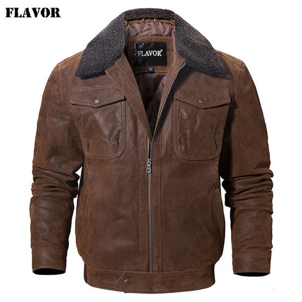 SAVEUR Veste en cuir réel homme véritable veste en cuir avec col en fausse fourrure mâle moto manteau chaud en cuir véritable veste Y190920