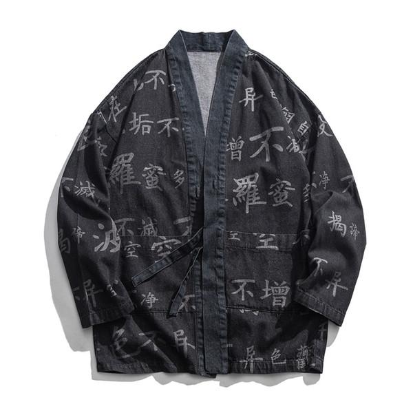 Cópia do Escrito Budista chinês Kimono Cardigan Quimono Japonês Homens Jaqueta Streetwear Mens Jaqueta Jeans Homens frete grátis