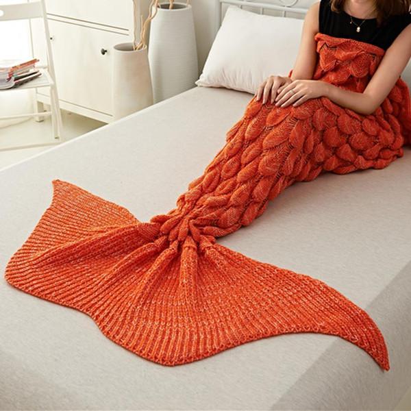 La coda di pesce di lavoro a maglia molle creativa comoda comoda di colore solido morbido, comoda, coperta elastica