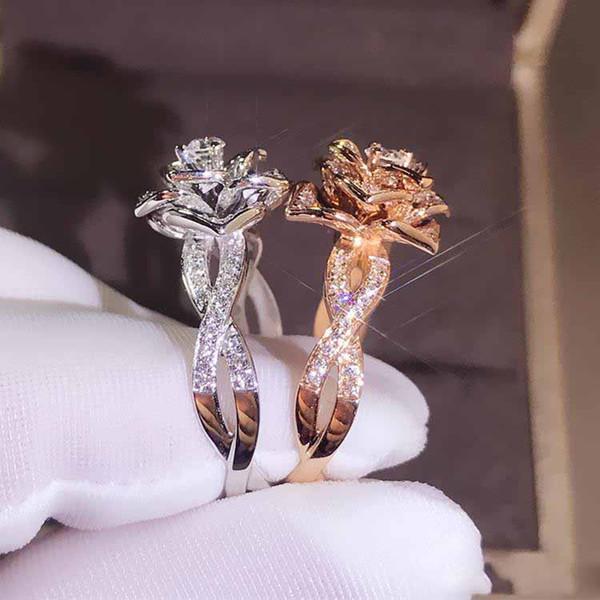 Luxus Big Rose Blume Ring Nette Boho Weibliche Silber Rose Gold Verlobungsring Vintage Party Hochzeit Band Ringe Für Frauen