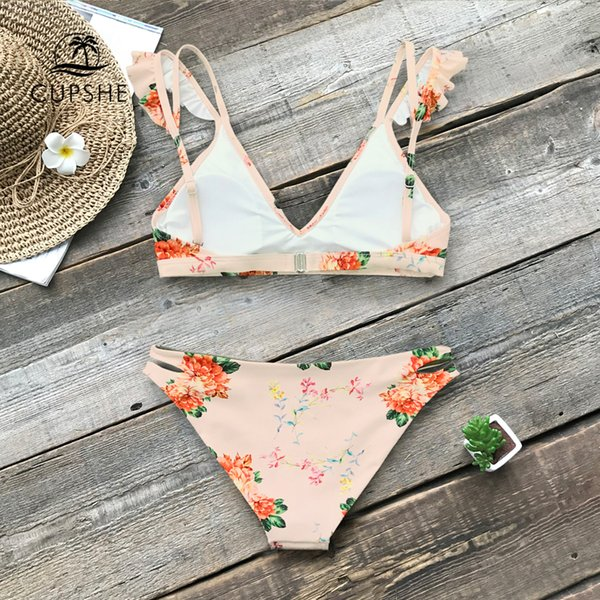 fe000d2a62 CUPSHE Floral Print Ruffle Reversible Bikini Sets Women Sexy Thong Two  Pieces Swimsuits 2019 Girl Beach