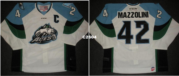 Мужчины настроить ECHL 2013 14 Аляска тузы 42 Ник Mazzolini прочь Джерси хоккей Джерси или обычай любое имя или номер ретро Джерси
