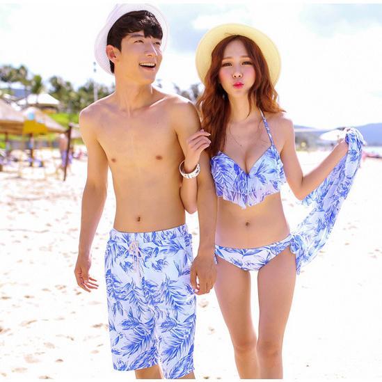 2019 neue himmelblaue Blume Paar dreiteilige Split Bikini Bademode Sexy Biquini Anzug Mann Strand Shorts Liebhaber Badeanzug