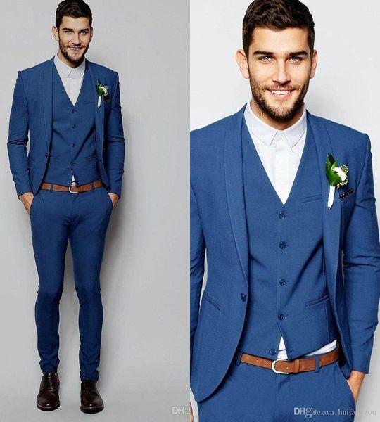 Smart Three Pieces With Jacket+Waistcoat+Pants Tuxedo Wedding Drak Royal Blue Custom Made Notched Lapel Plus Size Formal Tuxedo Mens Suit