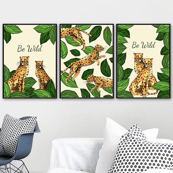 Collection Wild Animal Leopard Leaf Wall Art Canvas Painting Nordic Posters and Prints Wall Picture Baby Kids Room Home Decor