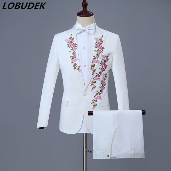 New White Choral Dress Plum blossom Embroidery Men's Suits Prom Festival Gala Host Singer Chorus Costumes Adult Male Stage Wears #565599