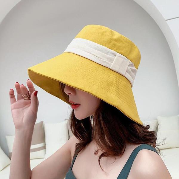 SUOGRY Korea Style Panama Hat Bucket Flat Top Foldable Cotton Hat Fisherman Casual Spring Summer Wide Brim Sun Hats Women Caps