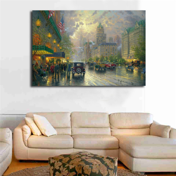 Thomas Kinkade New York Fifth Avenue Canvas Posters Prints Wall Art Painting Decorative Picture Modern Home Decoration No Frame