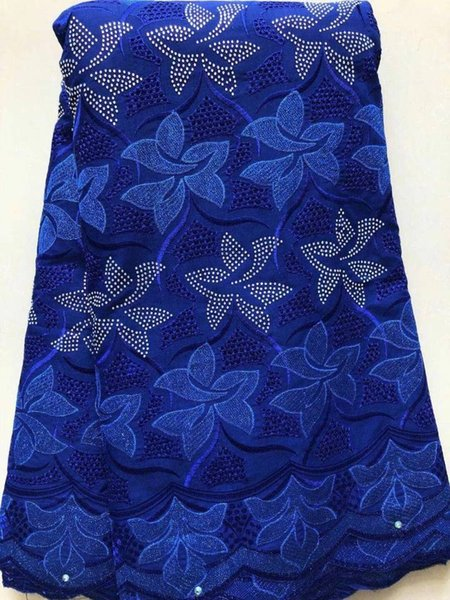 5Yards Hot sale royal blue flower design african cotton fabric and rhinestone swiss voile lace embroidery for dress LC10-4