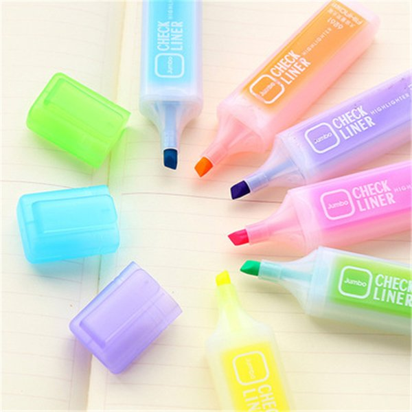 6 pcs set big capacity fluorescent pen mark 6 color pen graffiti creative stationery markers refill highlight pastel drawing