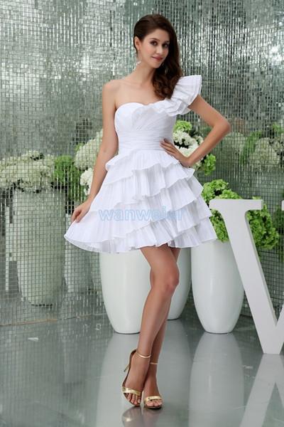 Frete grátis 2016 novo curto mini jennifer lopez vestido custommade um ombro plus size formal dama de honra branca das mulheres