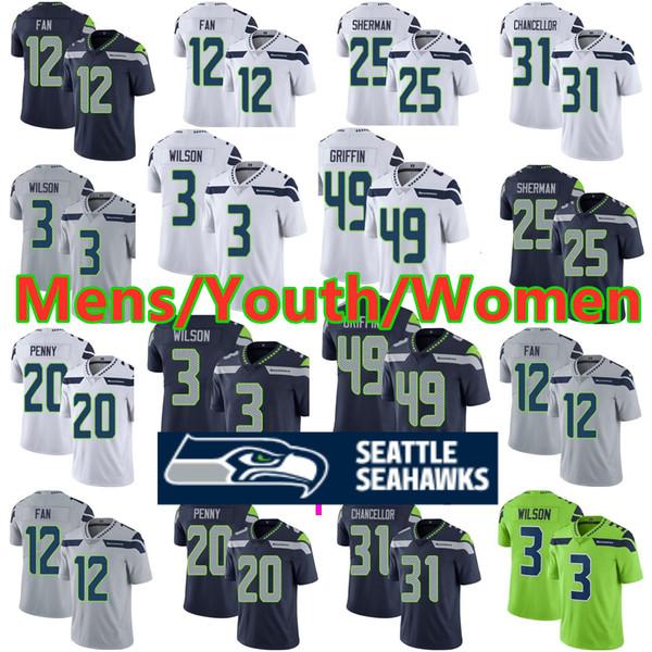best service f7ef0 66765 2019 Seattle Seahawks Jersey 3 Russell Wilson 14 DK Metcalf 12th Fan Jersey  54 Bobby Wagner 16 Tyler Lockett 49 Shaquem Griffin Football Jerseys From  ...