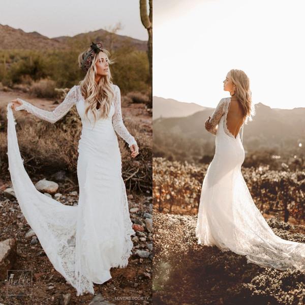 Rustikale Country Mermaid Brautkleider mit langen Ärmeln 2018 bescheidene Vintage rückenfreie böhmische Spitze Brautkleid Brautkleid Robe de mariée