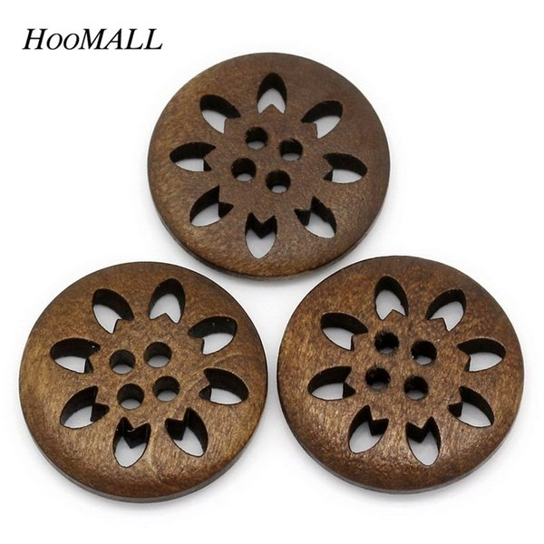 sewing crochet Hoomall Brand 25PCs 25mm Wooden Buttons Sewing Snowflake Carved 4 Holes Brown Scrapbooking sew suit button