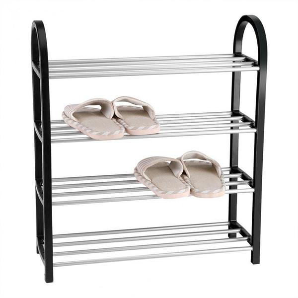 Aluminum Metal Standing Shoe Rack Diy Shoes Storage Shelf Home Organizer Accessories Q190610