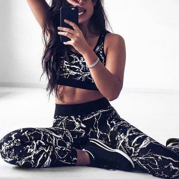 Printed Breathable Sets Sexy Women Sportswear Halter Bra & Leggings Tight Fitness Sports Tracksuit for Women BD