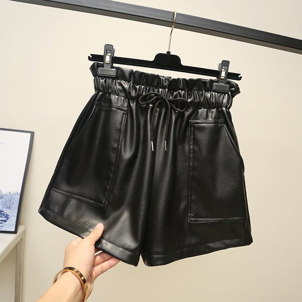 High waist leather 2018 new pu leather shorts autumn and winter wide legs wear loose casual Korean boots S190423