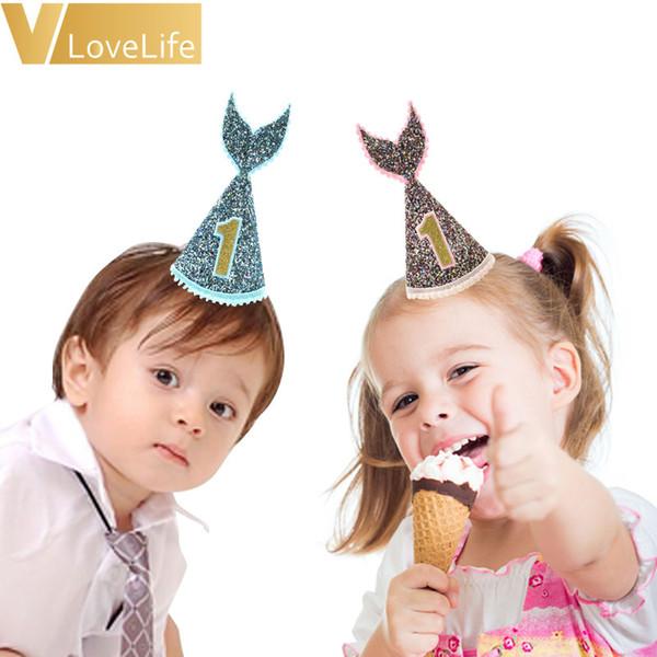 2adet Denizkızı Şapka 1 Kafa Letter Keçe Flaş Pembe Mavi Denizkızı Kuyruk Hat İçin Fotoğraf Dikmeler doğum günü partisi Tema Aksesuarları