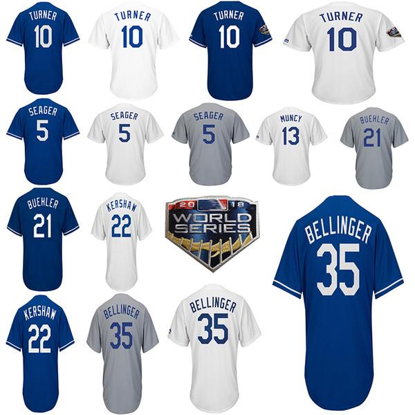 the latest ff059 32e20 Los Angeles 22 Clayton Kershaw Jersey 35 Cody Bellinger 10 Justin Turner 21  Walker Buehler 5 Corey Seager LA 2018 Baseball Jerseys UK 2019 From ...