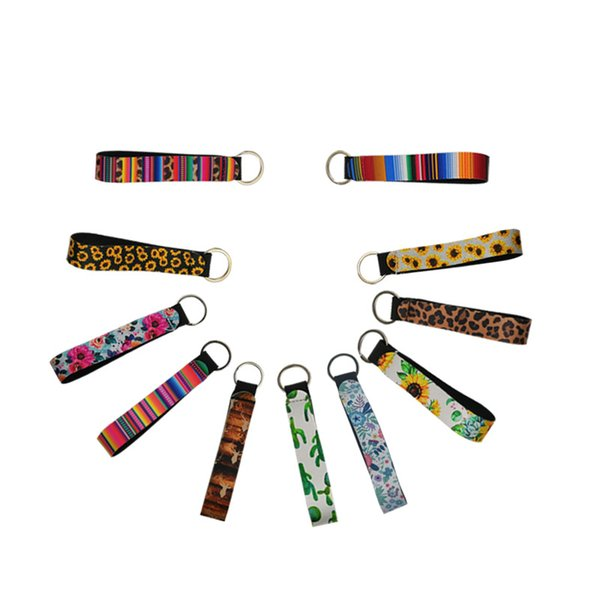 top popular Neoprene Wristband Keychains Floral Printed Key Chain Waterproof Key Ring Universal Key Buckle Men Women Gifts Accessories A52801 2019