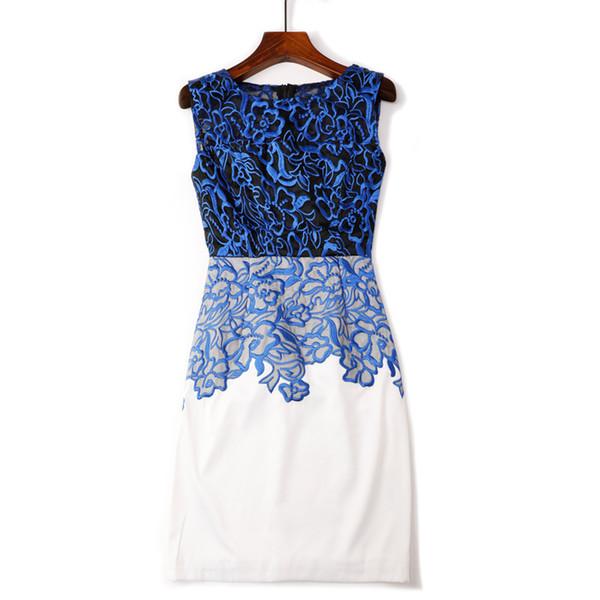 Vest Sleeveless Waist Heavy Embroidery Gauze Package Buttocks Dress 2019 Suit-dress