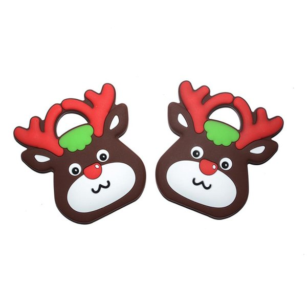 New Deer Silicone Teethers Cute Deer Head Teether Teething Pendant Food Grade Safe Silicone Soothers Christmas Gift for Teething Baby