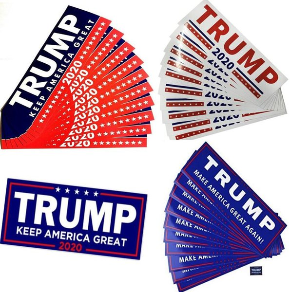 best selling Wholesale 4 Styles Donald Trump 2020 Car Stickers wall Sticker Keep Make America Great Sticker Decal for Car Styling Vehicle Paster HOT DHL