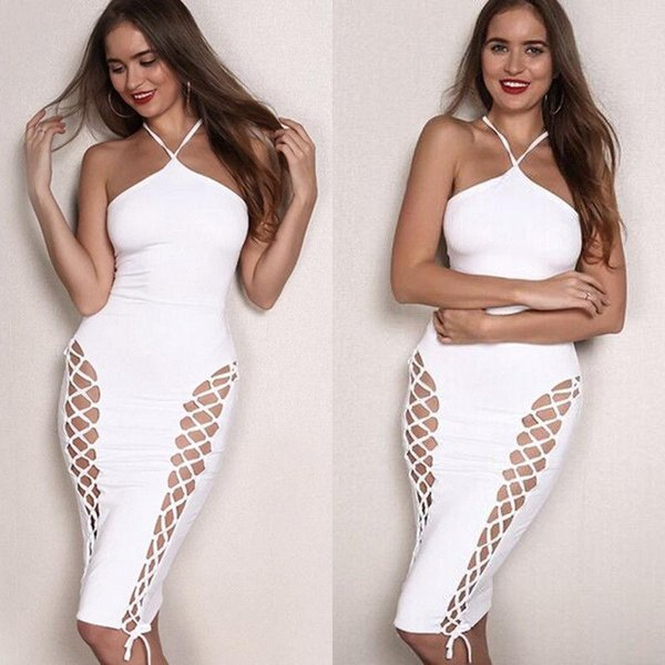 Women Sleeveless Bodycon Dress Casual Party Evening Clubwear Sexy Halter Dress Summer New Female Vestidos
