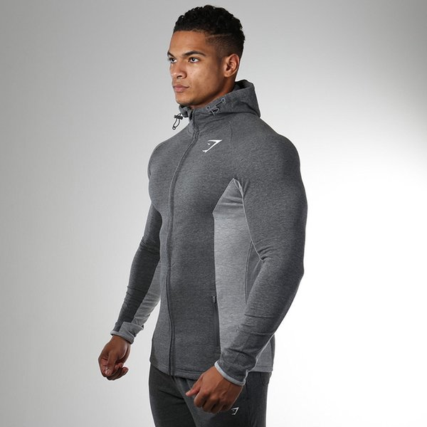 top popular 2019 gym European and American style men's colour-matching printed pattern fashionable leisure comfortable fitness training hoodies 2019