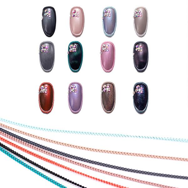 Tırnak Zincirler Tırnak Sanat Malzemeleri 12 Metalik Zincirleri Glitter Bling Tasarım Jewels Dekorasyon Aksesuarları 3D Cha Şeritleri