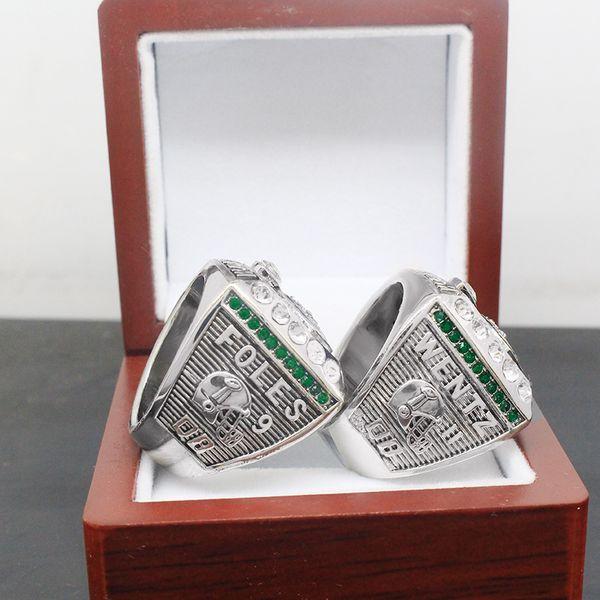 HOT 2017-2018 Philadelphia Eagles Ring Football Super Bowl LII World Foles Wentz Championship Replica Ring with wooden box Men Ring Souvenir
