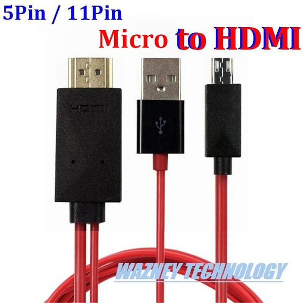 100pcs 11 pin 5 pin Micro USB to HDMI Video Audio Cable HDTV HD TV adapter For Samsung Galaxy S5 S3 S4 note 4 3 2 For S2 HTC LG)