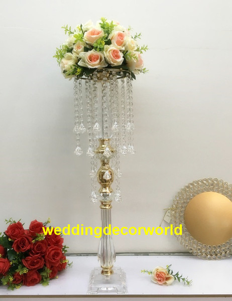 New style clear cylinder flower acrylic vase pot with mental for home and wedding decoration decor1140