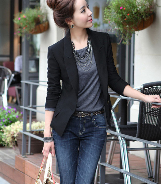 Fashion Casual Formal Women's Long Sleeve Singlr Button Black Slim Business Leisure Lapel Blazer Suit Jacket Coat Outwear