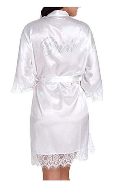 "Satin Faux Silk Wedding Bride Bridesmaid Robes,White Bridal Dressing Gown/ Kimono Bathrobes,""BRIDE""""BRIDE MAID"" Graphic on Back"
