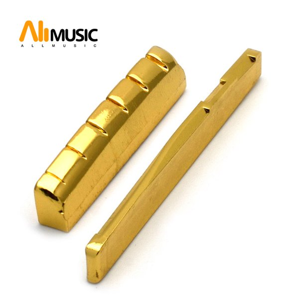 6 String Slotted Brass Gold Plated Acousitc Guitar Nut and Bridge