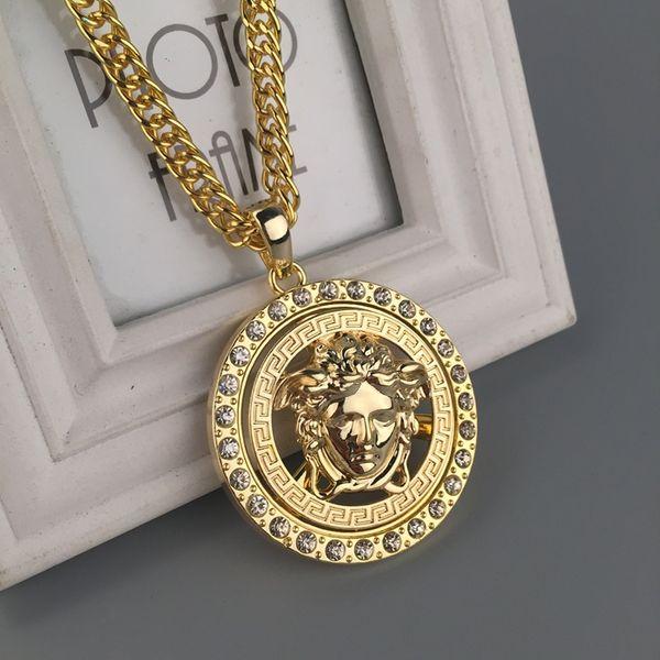 Acciaio Mens di lusso 18k Punk Medusa Hip Hop tag head ritratto della collana Pendant Neckalce moda gioielli e accessori