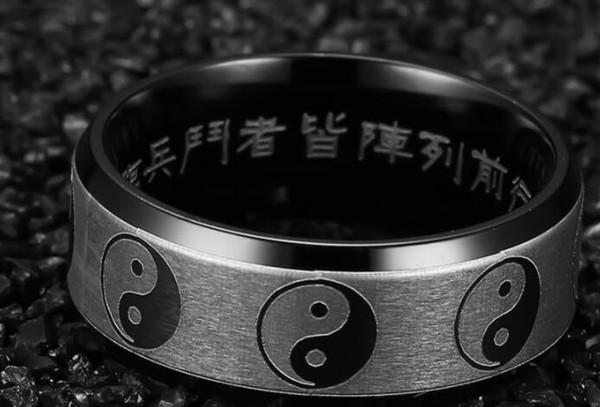 Спиннинг из нержавеющей стали Инь Ян Тайцзи 8 мм очаровательные кольца для мужчин женщин черный серебро Тай-Чи кольцо свадебные украшения большой размер