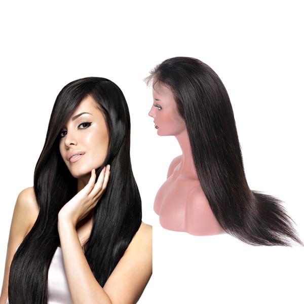 Silky Straight Straight Soie Base Lace Front perruque de cheveux humains Brésilienne Vierge Cheveux Top Soie Full Lace Wig Avec Cheveux de bébé