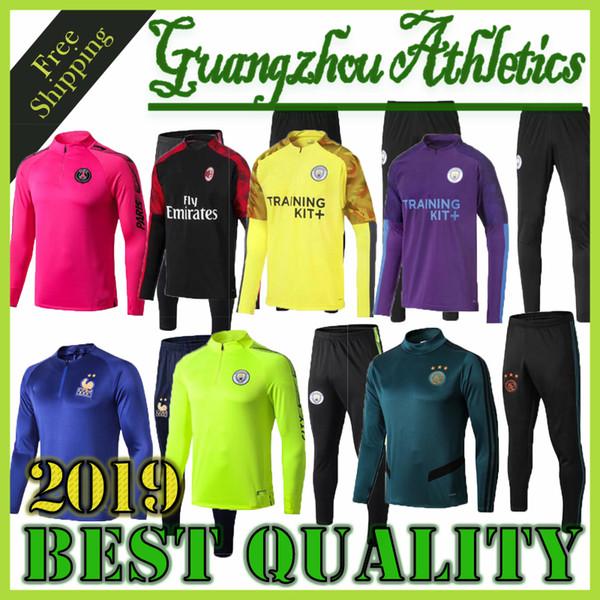 Новая французская футбольная куртка 2019 2020 marseille Half zipper jacket Paris. Аякс Майо де фут обучение футбол красный белый пиджак