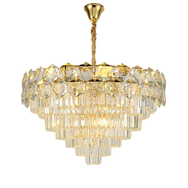 Contemporary round crystal chandelier light gold luxury pendant chandeliers lighting dinning bedroom led cristal hanging lamps