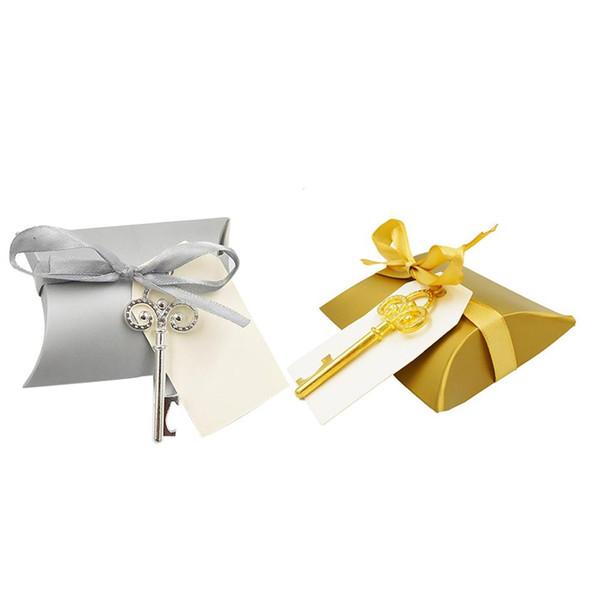 50pcs di nozze di carta Kraft scatole regalo con bottiglia chiave apri cuscino favore Forma regalo di nozze di caramella di Baby Shower feste