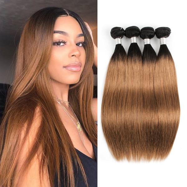 8A brasiliano capelli lisci ombre tessuto capelli biondi fasci colore 1b / 30 3/4 fasci 10-24 pollici 100% estensioni dei capelli umani remy