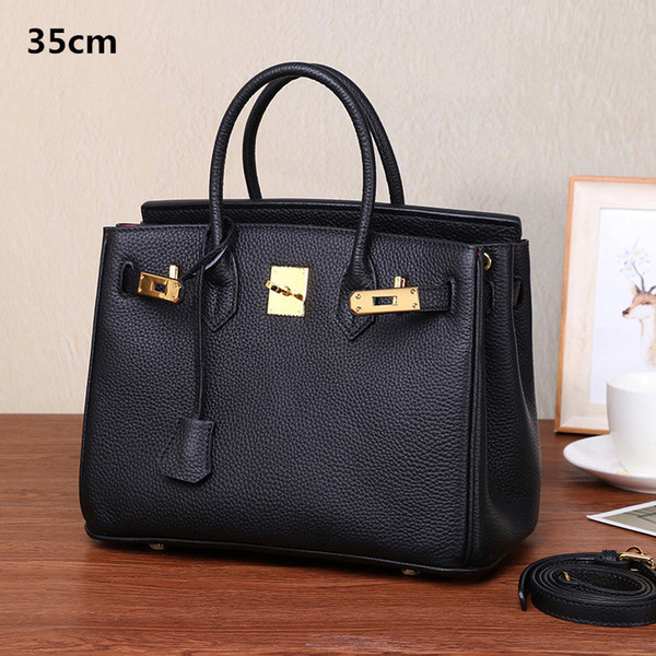 35cm women luxury genuine leather platinum lock handbags shoulder bag real cow leather high quality Lady messenger crossbody bag